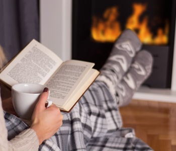 Cosy fireplace reading book 1